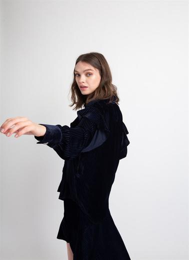 Rue Fırfır Detaylı Kadife Gömlek Lacivert